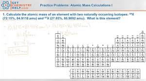 chemistry practice problems atomic mass calculations i youtube