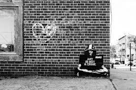home design brick wall black and white graffiti patio exterior