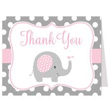 polka dot elephant pink thank you card u2013 the invite lady