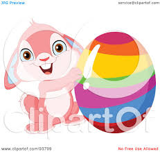 royalty free rf clipart illustration of a cute pink easter bunny