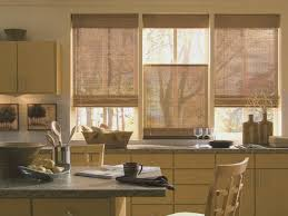 country kitchen curtains ideas beige striped fabric windows blinds