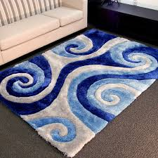 Area Rugs Blue Donnieann 3d Shaggy 805 Abstract Swirl Blue Area Rug 5 X 7