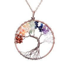 natural stone necklace pendant images Chakra tree of life pendant necklace copper crystal natural stone jpg