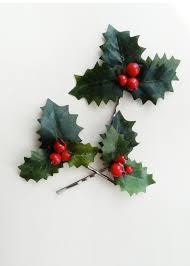 christmas hair accessories sprig 2 pins with leaves and berries