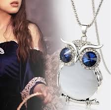 crystal owl pendant necklace images Rhinestone crystal owl long chain pendant necklace nature 39 s png