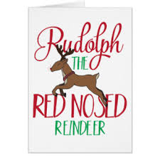 rudolph the nosed reindeer cards invitations greeting