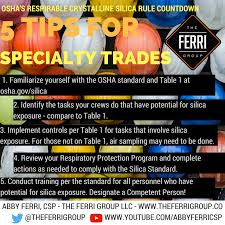 osha silica rule table 1 silica safety for specialty trades the ferri group