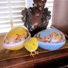 vintage paper mache easter eggs make our paper mache egg for easter with free vintage images and