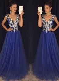 blue graduation dresses new arrival royal blue prom dresses v neck a line prom dress