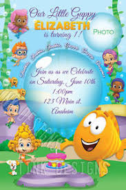 bubble guppies birthday invitations custom personalized fish sea