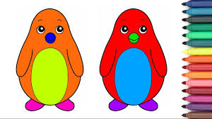 funny colored penguins coloring page for kids youtube