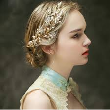 hair ornaments pearl bridal hair comb gold leaves bridal hair