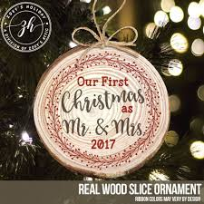 couples 1st christmas pine ornament mr and mrs wreath wood ornament