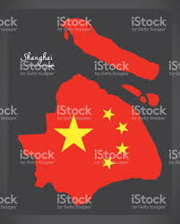 Shanghai China Map by Shanghai China Map With Chinese National Flag Illustration Stock