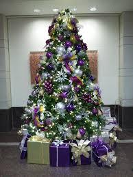 purple ornaments purple ribbons purple trim and purple presents