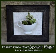 how to make a mosaic tile gravy boat framed succulent planter