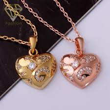rose gold colour necklace images Fashion romantic rose gold color jewelry heart shaped pendant jpg