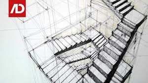 drawing stairs composition in three points perspective daily