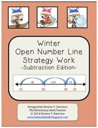 winter open number line strategy work subtraction edition by