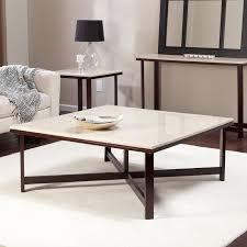 avorio faux travertine square coffee table walmart com