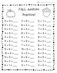 fall addition practice worksheet pack 3 leveled sheets for back