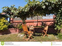 Grape Vine Pergola by Garden Furniture Under Grapevine Pergola Stock Photo Image 69071066
