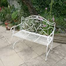 Wrought Iron Bench Seat Charles Bentley Garden Heart Shaped 2 Seater Wrought Iron