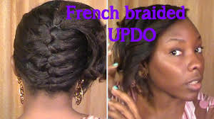 French Braided Updo On Relaxed Hair Youtube