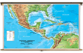 Central America Map And Capitals central america u0026 caribbean physical classroom map from academia maps