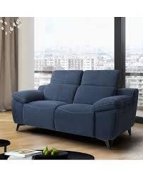 canapé design microfibre canapé contemporain 2 places tissu bleu 2 têtières réglables