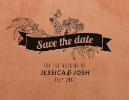 Rustic Save The Date Lines Letterpress Wishing Well