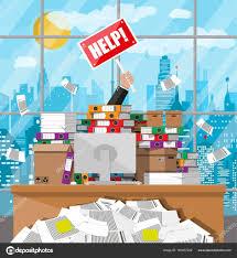 le de bureau à pile homme d affaires dans le tas de papiers de bureau image