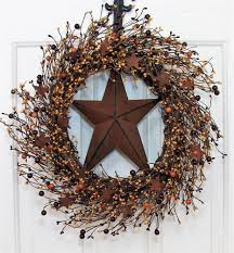 rusty tin star u0026 pip berry wreath primitive country fall