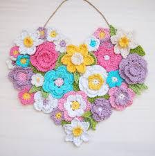 crochet home decor crochet pattern flower heart wall decor wreath 7 ornaments