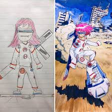 dad turns his sons u0027 doodles into anime characters and the result