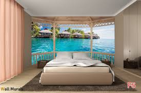 mural wooden terrace with of view summer houses in bora bora wallpapers mural wooden terrace with of view summer houses in bora bora