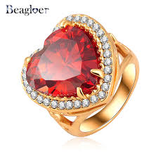 aliexpress buy beagloer new arrival ring gold beagloer heart austrian ring jewelry gold color women