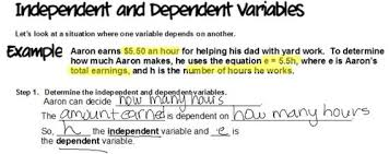 6 ee 9 independent and dependent variables unit 3 equations