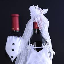 wine bottle wraps 2pcs set groom dress wine bottle wraps glass wedding
