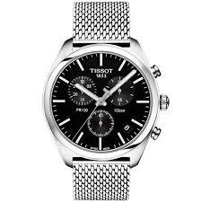 tissot bracelet leather images Tissot pr100 41mm black dial steel mesh bracelet men 39 s watch jpg