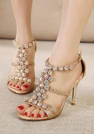 Rhinestone Sandal Heels Golden Round Toe Stiletto Rhinestone Buckle Fashion High Heeled