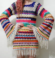 boho crochet 2017 handmade square stripe sleeve boho crochet dress