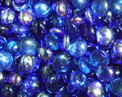 Vase Stones 50 Aqua Blue Glass Gems Stones Mosaic Pebbles Centerpiece Flat