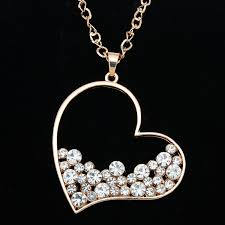 girl heart necklace images Gold rhinestone heart pendant long chain necklace pendants for jpg