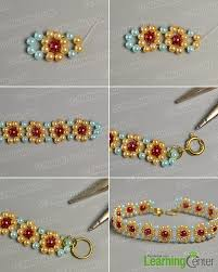 beaded rose bracelet images How to make light cyan yellow blue and red pearl bead flower jpg