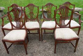 set of six antique style mahogany shield back dining chairs by