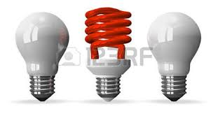 colored fluorescent light bulbs red fluorescent light bulb and two white tungsten ones front