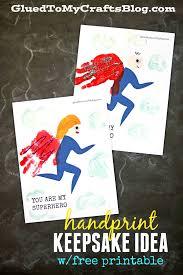 handprint superhero keepsake printable glued to my crafts
