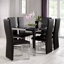 tempo 160cm glass top dining table with 6 chairs u2013 next day