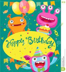 monster invitation monster party invitation card design vector cartoon illustration